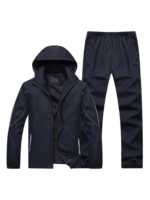 Ericdress Plain Jacket & Pants Mens Casual Sports Outfit