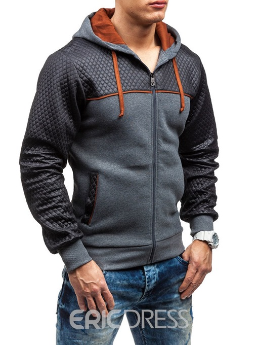 Ericdress Patchwork Lace Up Mens Cardigan Hoodies