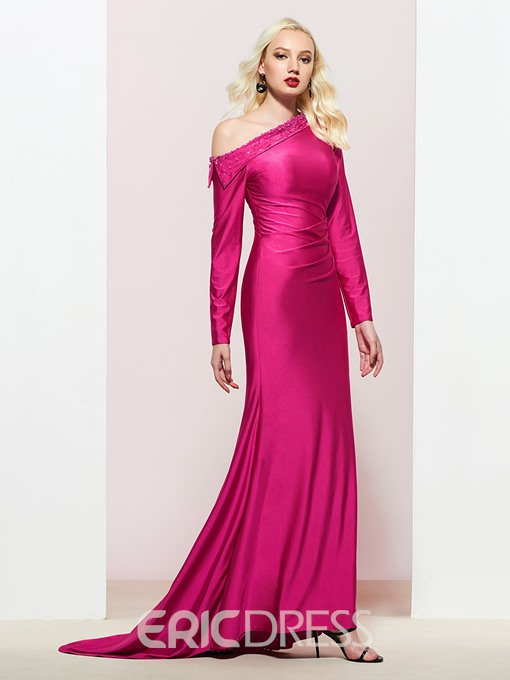 Ericdress Long Sleeves Beaded One Shoulder Mermaid Prom Dress 2019