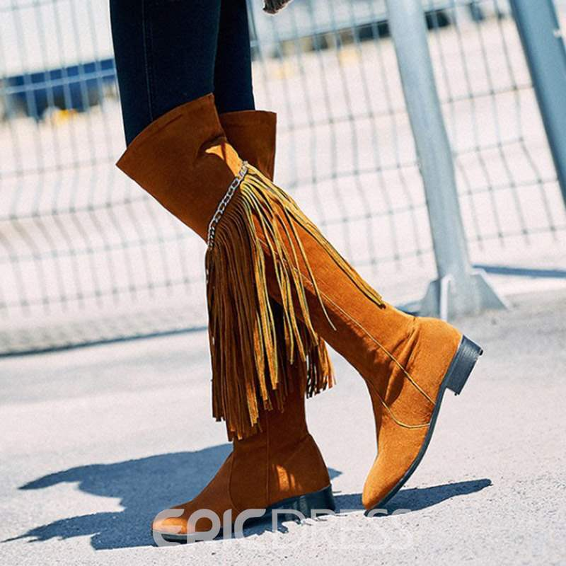 2721ce6e0d5 ... Ericdress Fringe Block Heel Round Toe Women s Knee High Boots ...