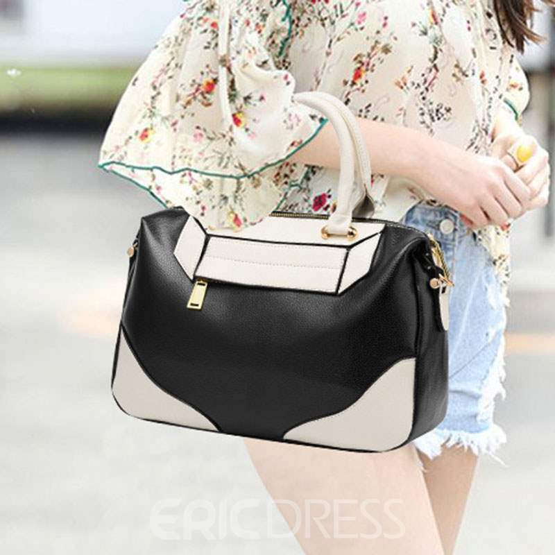 Ericdress PU Color Block Hobos Tote Bags