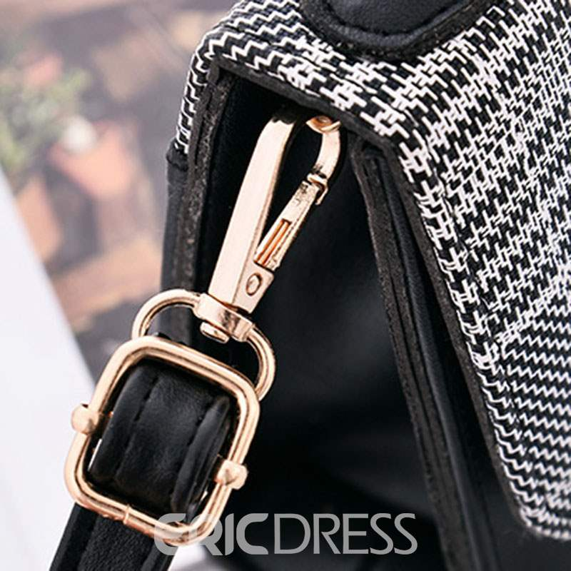 Ericdress Color Block PU Houndstooth Square Tote Bags