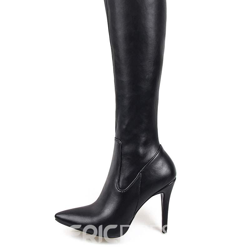 Ericdress Plain Stiletto Heel Pointed Toe Women's Thigh High Boots