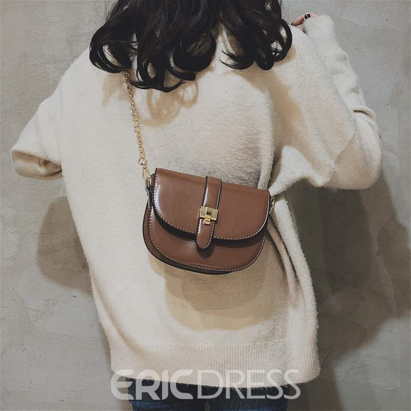 Ericdress PU Thread Magnetic Snap Saddle Crossbody Bags
