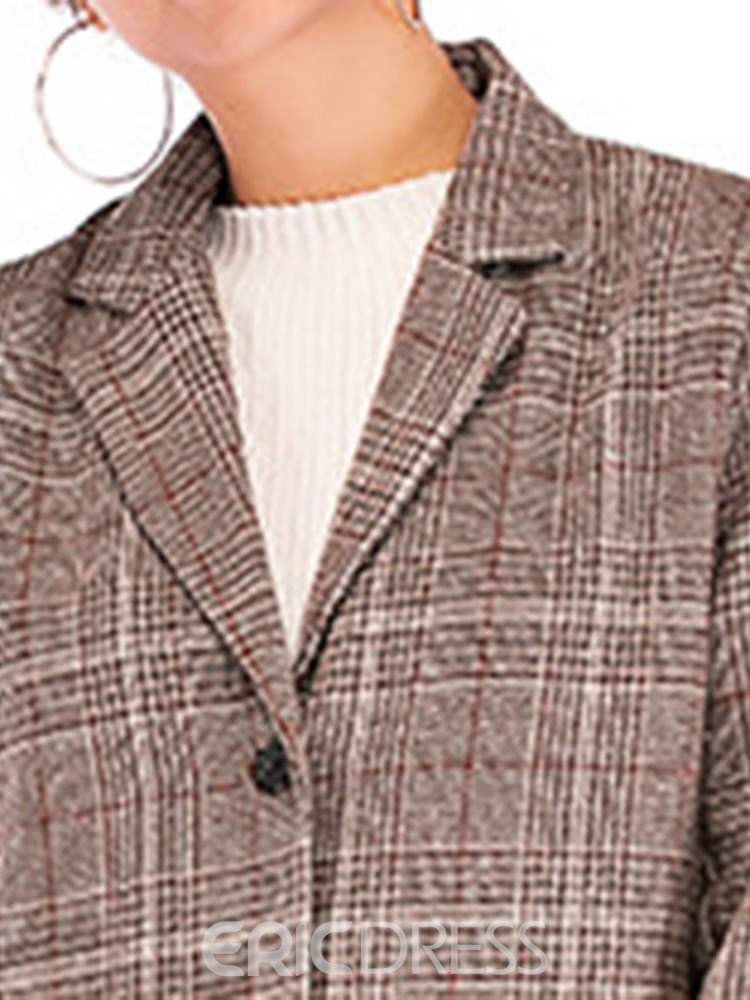 Ericdress Single-Breasted Notched Lapel Plaid Regular Mid-Length Casual Blazer