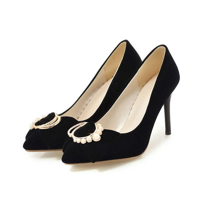 Ericdress Beads Faux Suede Stiletto Heel Pointed Toe Pumps