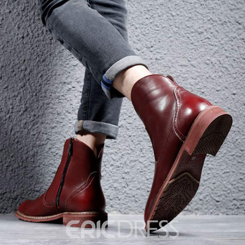 Ericdress PU Side Zipper Round Toe Men's Boots