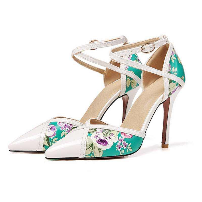 Ericdress Floral Pointed Toe Buckle Stiletto Heel Pumps