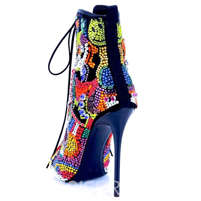 Ericdress Lace-Up Front Stiletto Heel Color Block Women's Ankle Boots