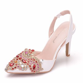 Ericdress Rhinestone Slingback Strap Pointed Toe Wedding Shoes