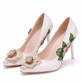 Ericdress Floral Pointed Toe Slip-On Stiletto Heel Women's Pumps