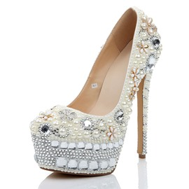 Ericdress Rhinestone Round Toe Stiletto Heel Slip-On Wedding Shoes