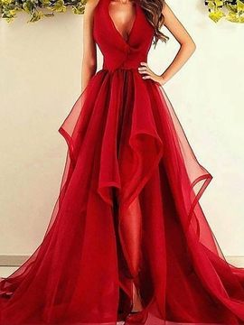 Ericdress Halter Asymmetry Red Evening Dress