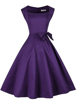 Ericdress A-Line Square Purple Knee-Length Cocktail Dress