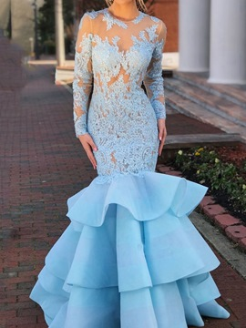 Ericdress Long Sleeves High Neck Mermaid Evening Dress 2019