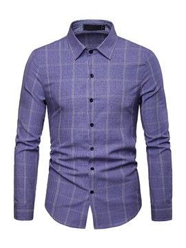Ericdress Lapel Plaid Button Up Single-Breasted Mens Shirt