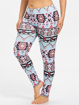 Ericdress Plus Size Print Casual Color Block High Waist Leggings