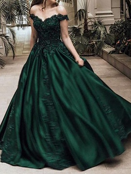 Appliques V-Neck A-Line Floor-Length Evening Dress