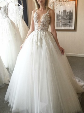 Button Sweep/Brush Floor-Length A-Line Hall Wedding Dress