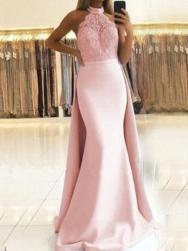 Halter Appliques Sleeveless Floor-Length Evening Dress