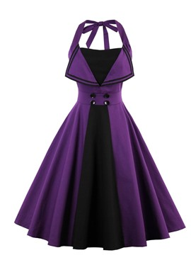 Ericdress Halter Purple A-Line Knee-Length Cocktail Dress 2019