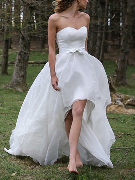 Ericdress Asymmetry Bowknot A-Line Beach Wedding Dress