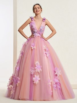 Ericdress V-Neck Ball Gown Quinceanera Dress
