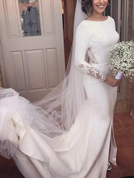 Ericdress Long Sleeves Appliques Backless Wedding Dress