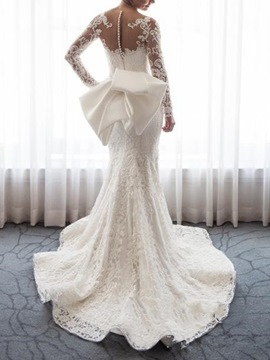 Ericdress Long Sleeves Bowknot Mermaid Wedding Dress 2019