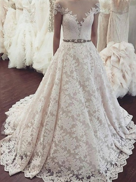 Ericdress Cap Sleeves Off-The-Shoulder Lace Wedding Dress