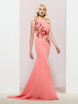 Ericdress One Shoulder Embroidery Mermaid Evening Dress 2019