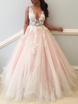 Ball Gown Flowers V-Neck Hall Wedding Dress