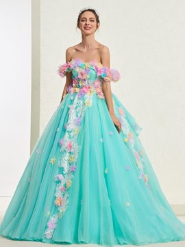 Ericdress Off-The-Shoulder Flowers Ball Gown Quinceanera Dress 2019