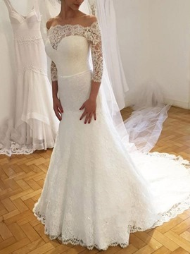 Ericdress Off-The-Shoulder Lace Mermaid Wedding Dress