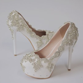 Ericdress Round Toe Rhinestone Stiletto Heel Wedding Shoes