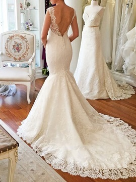 Ericdress Mermaid V-Neck Lace Wedding Dress 2019