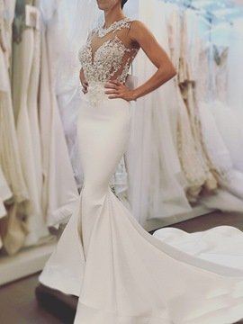 Ericdress Appliques Backless Mermaid Wedding Dress
