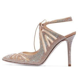 Ericdress Rhinestone Pointed Toe Lace-Up Stiletto Heel Wedding Shoes