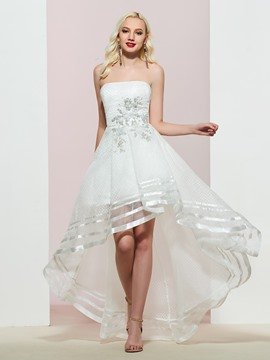 Ericdress Strapless Appliques Asymmetry Prom Dress