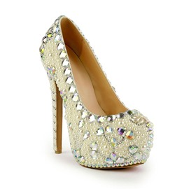 Ericdress Rhinestone Stiletto Heel Platform Slip-On Wedding Shoes