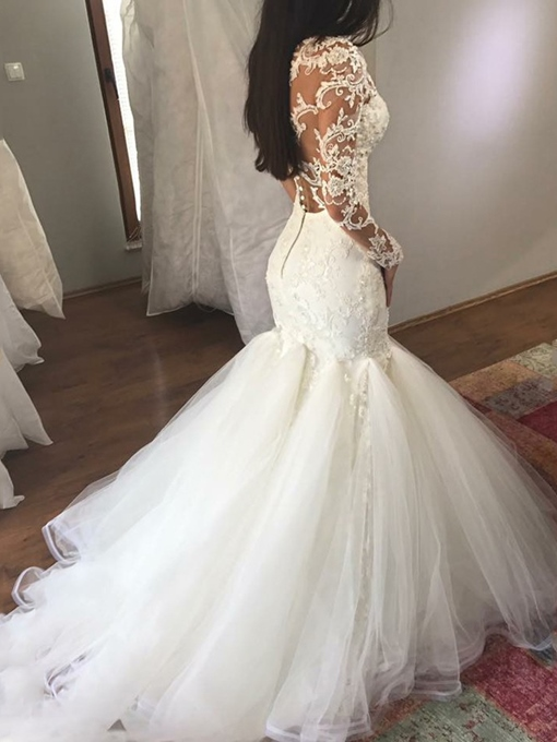 Ericdress Long Sleeves Applique Mermaid Wedding Dress 2019