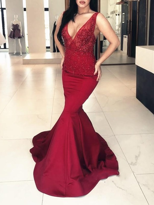 Ericdress Beading V-Neck Mermaid Evening Dress