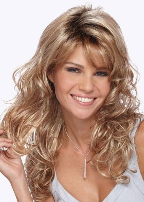 Ericdresss Super Long Big Curly Layered Hairstyle with Full Fringe Synthetic Capless Women Wigs 24 Inches
