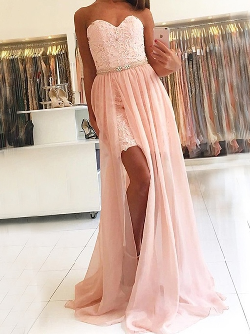 Sweetheart Sleeveless A-Line Lace Prom Dress