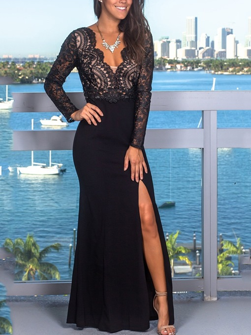 Lace Sheath V-Neck Floor-Length Evening Dress