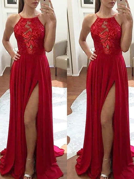 Ericdress A-Line Appliques Sleeveless Halter Prom Dress 2019