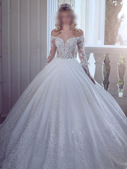 Ericdress Off-The-Shoulder Appliques Long Sleeve Wedding Dress 2019