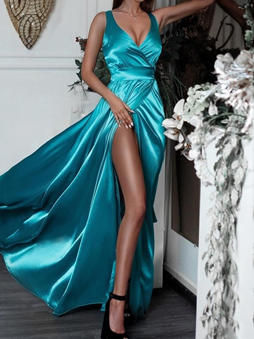 Split-Front A-Line Sleeveless Floor-Length Evening Dress