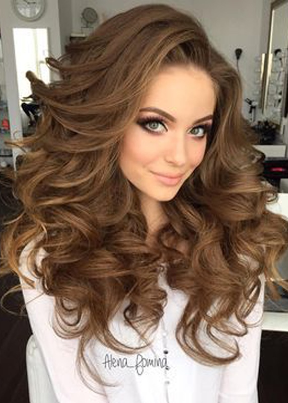 Ericdress Long And Curly Layered Hairstyle with Full Fringe Synthetic Capless Women Wigs 24 Inches