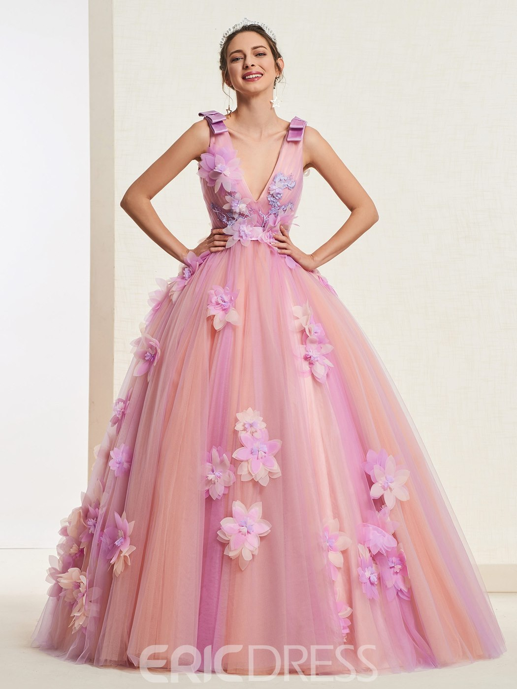 Ericdress V-Neck Ball Gown Quinceanera Dress 2019